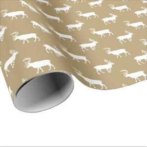 Brown Country moose pattern wrapping paper