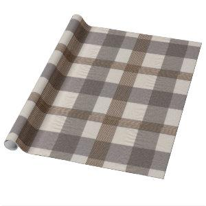 Brown Cream Plaid Wrapping Paper