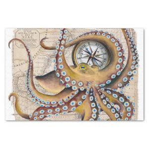 Brown Octopus Vintage Map Compass Tissue Paper
