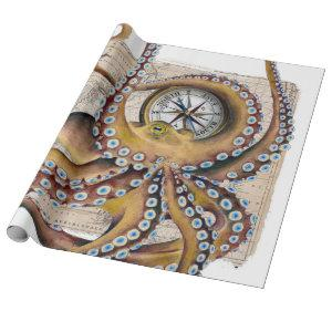 Brown Octopus Vintage Map Compass Wrapping Paper