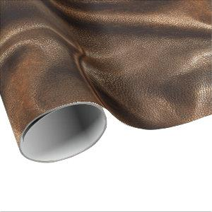 Brown Shiny Faux Leather Wrapping Paper