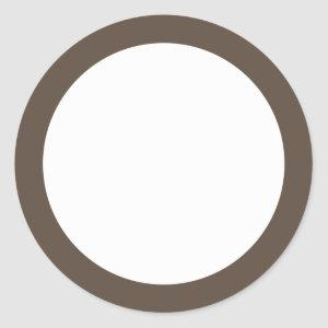 Brown solid color border blank classic round sticker