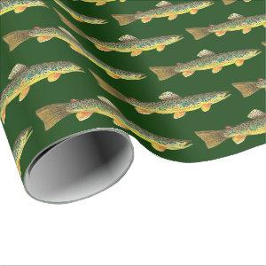 Brown Trout Fly Fishing Angler's Wrapping Paper
