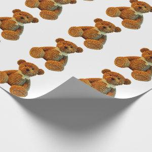 Brown Wicker Teddy Bear Wrapping Paper
