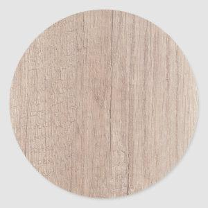 Brown Wood Board Look Blank Elegant Template Classic Round Sticker
