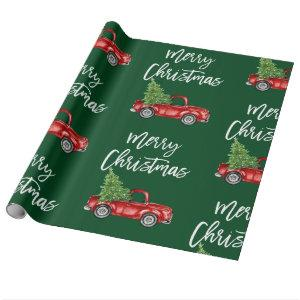 Brush Script Christmas Vintage Truck Green Wrapping Paper