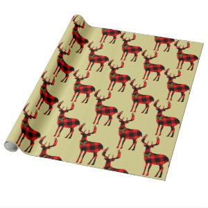 Buck Deer Hunting Red Black Plaid Wrapping Paper