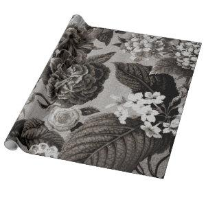 Buff Gray Modern Vintage Floral Toile
