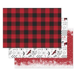 Buffalo Adventures Black and Red Plaid ID599 Wrapping Paper Sheets