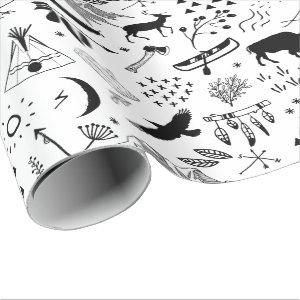 Buffalo Adventures Pattern Black ID599 Wrapping Paper