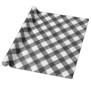 Buffalo Check Black & White Plaid Gift Wrapping Paper