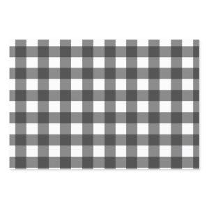 Buffalo Plaid, Black White Pattern Wrapping Paper