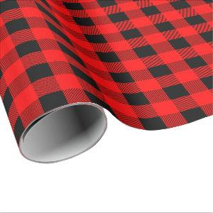 Buffalo Plaid Checks Classic Red and Black Wrapping Paper