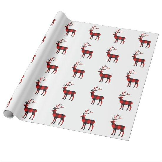Buffalo Plaid Deer | Wrapping Paper