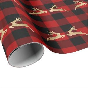 Buffalo Plaid Lomberjack Gold Reinadeer Red Man Wrapping Paper