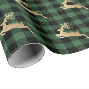 Buffalo Plaid Lomberjack Gold Reindeer Green Farm Wrapping Paper