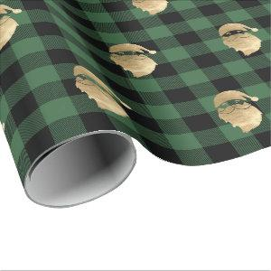Buffalo Plaid Lomberjack Gold Santa Winter Green Wrapping Paper