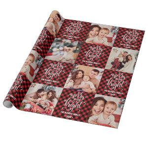 Buffalo Plaid Merry And Bright Christmas Photo Wrapping Paper