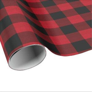 Buffalo Plaid Red and Black ID603 Wrapping Paper