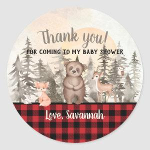 Buffalo Plaid Woodland Baby Shower Thank you Classic Round Sticker