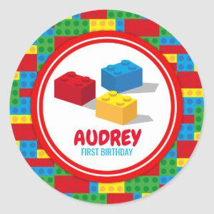 Bulding Block Build and Play Colourful Birthday Classic Round Sticker