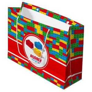 Bulding Block Build and Play Colourful Birthday Large Gift Bag