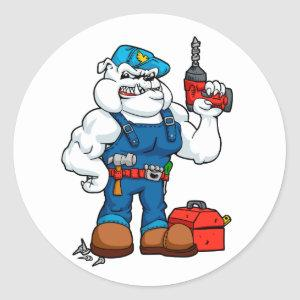 Bulldog Handyman with drill in hand and tools. Classic Round Sticker