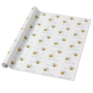 Bumble Bee Gender Reveal Wrapping Paper