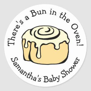 Bun in the Oven Cute Modern Baby Shower Boy / Girl Classic Round Sticker