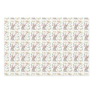 Bunnies with Flowers Wrapping Paper Sheets
