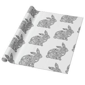 Bunny Rabbit Coloring Wrapping Paper