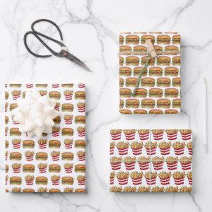 Burger and Fries Fast Food Cheeseburger French Fry Wrapping Paper Sheets