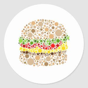 Burger In Dots Classic Round Sticker