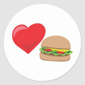 Burger Love!  Customizable: Classic Round Sticker