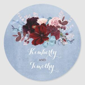 Burgundy and Dusty Blue Classic Round Sticker