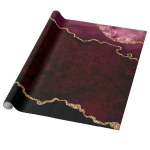 Burgundy and Gold Agate Wrapping Paper