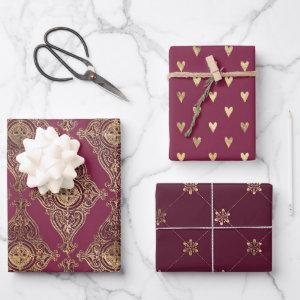 Burgundy and Gold Paris themed Wrapping Paper Sheets