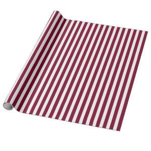 Burgundy and white candy stripes wrapping paper