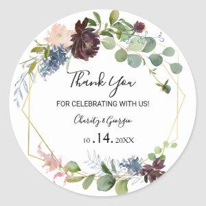 Burgundy Floral and Greenery Thank you Favor Classic Round Sticker