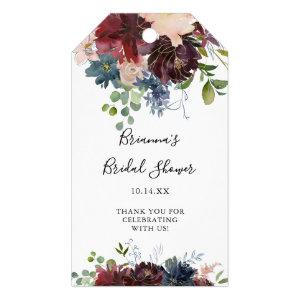 Burgundy Floral Greenery Bridal Shower Gift Tags