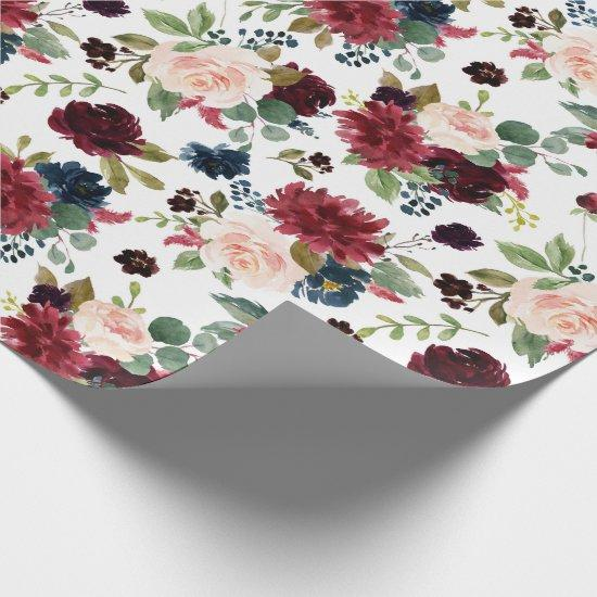 Burgundy Floral | Marsala Red Blush Navy Party Wrapping Paper