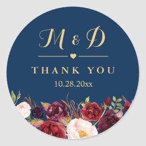 Burgundy Floral Navy Blue Monogram Wedding Favor Classic Round Sticker