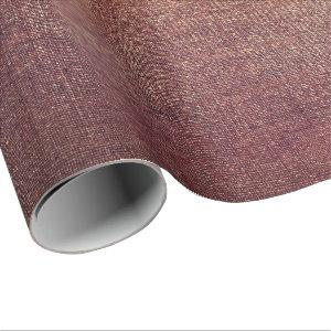 Burgundy Gold Blush Maroon Linen Burlap Rustic Wrapping Paper