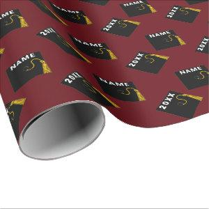 burgundy graduation gift wrapping paper