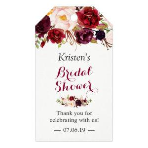 Burgundy Marsala Floral Chic Bridal Shower Favor Gift Tags