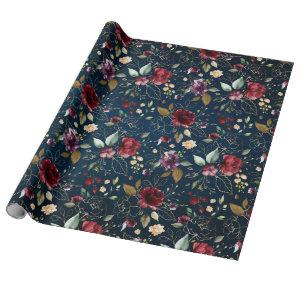 Burgundy Navy Blue Blush Floral wedding Wrapping Paper