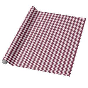 Burgundy red and white candy stripes wrapping paper