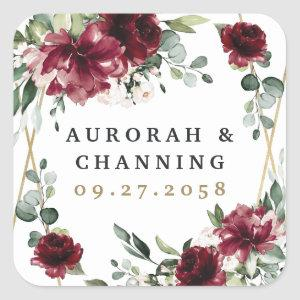 Burgundy Red Blush Gold Geometric Greenery Wedding Square Sticker