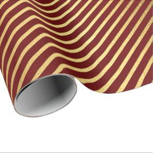 Burgundy Red Maroon Gold Stripes Lines Lux Wrapping Paper