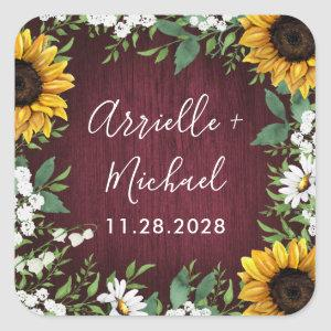 Burgundy Red Sunflower Greenery Wedding Favors Square Sticker